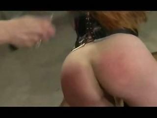 Spanking and masturbating her lesbian sub