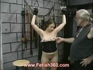 Brunette joleen gets nipple punished and whipped as shes tied up