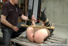 Tied up and butt plugged and pussy insertion