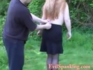 Amateur couple  outdoor spanking