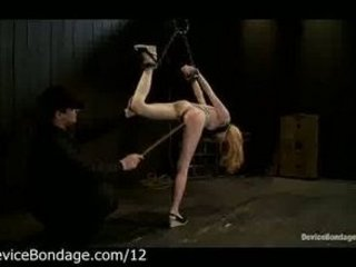 Suspended babe whipped and vibrated by master
