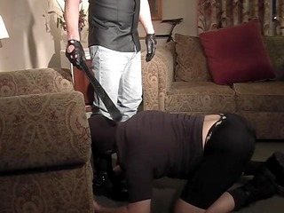 spanking sex slave while he jerks it - pig daddy productions