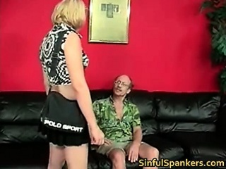 Nasty blonde babe gets spanked