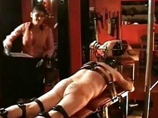 Mistress dometria spanking her slave part 1