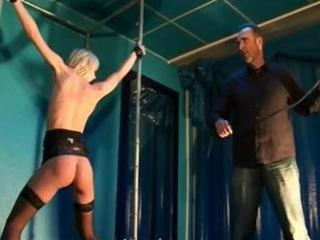 Blonde anika gets strung up and whipped in this bdsm clip