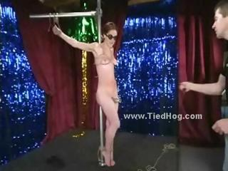 Brutal and pervert man takes slut immobilized and spanked screaming with bondage clips torturing her