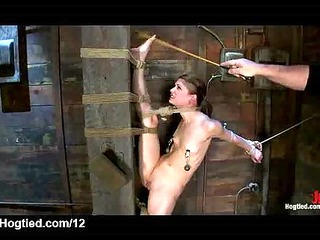 babe bound in standing splits caned
