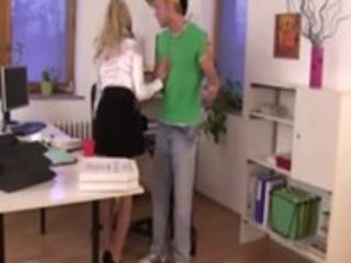 Young office hotties tape down pizza boy and surprise him with spanking