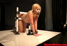 Lezdom blonde submissive being spanked