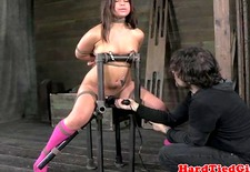 BDSM ballgagged babe over the knee spank