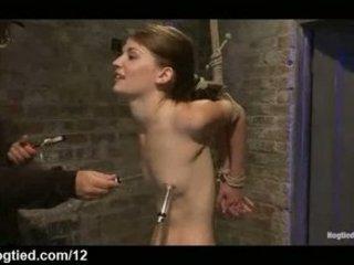Bound babe gets hard flogged in dungeon
