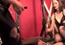 femdoms tease and whip their sub during bdsm session