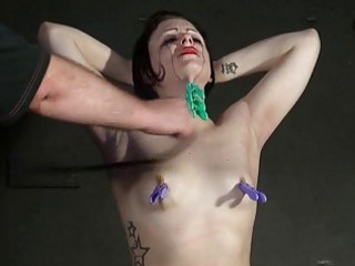 Throat whipping and erotic torture of crying slave