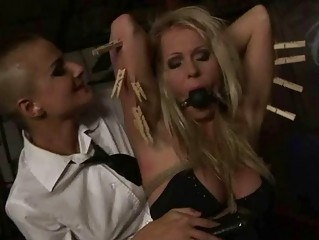Naughty mistress punishing sexy blonde