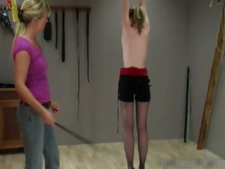 Poor babe gets whipped by kinky blond part3