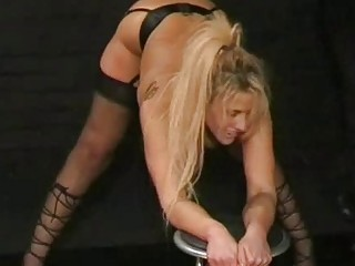 English caning and spanking of bruised blonde slavegirl crys