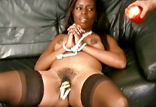 roped ebony slavegirl in black bdsm and whipped