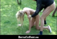 Slutty blondes fighting and cock sucking