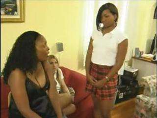 Two interracial schoolgirls are caught playing hooky and get a spanking
