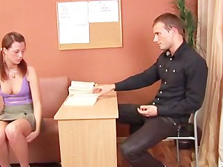 Russian brunette gets a good spanking during interview