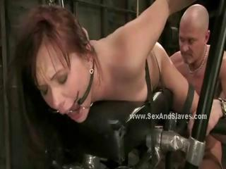 Sexy small babe dangling in ropes tied gets spanked and forced to swallow cock in bdsm fetish sex
