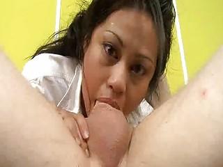 Tagteamed Asian Dicksucker Gets Her Ass Spanked