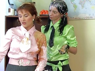Pigtailed schoolgirl bitch got punished with cream