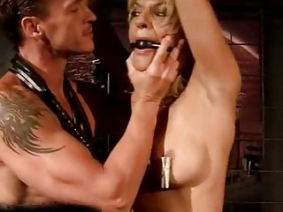 Hot blonde getting painfully punished