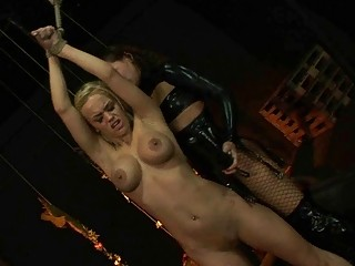 Young mistress punishing busty sex slave