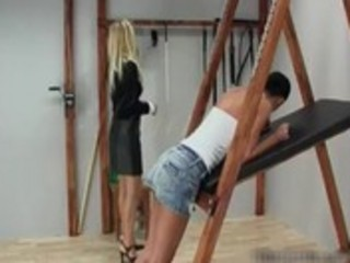 Cute girl with a nice ass getting caned