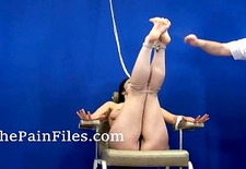 Bastinado feet whipping of Beauvoir in bondage and harsh painful foot fetis