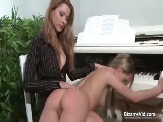 Awesome brunette teacher spanks her part5
