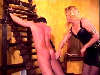 slave dude bound &; spanked by mistress amberle