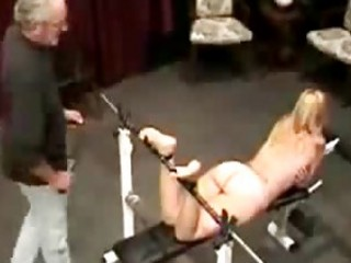Sexy cumdumpster is tied up and master spanks feet