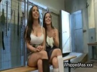 Bound babes asses flogged by mistress