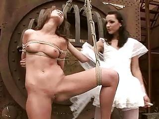 Young mistress punishing hot girl pretty hard