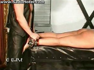 Chubby slave sucks cock of master and gets spanked