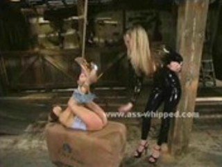 Teen gets her ass and pussy flogged