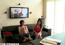 Shy punk girl is very nervous at her casting couch audition