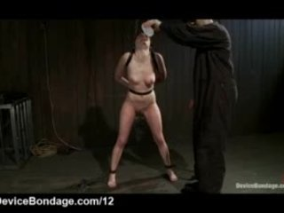 Tied up brunette caned and clipped in dungeon