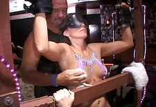 Dom Hubby Volunteers MILF For Public Humiliation Stripped Spanked Cums Hard