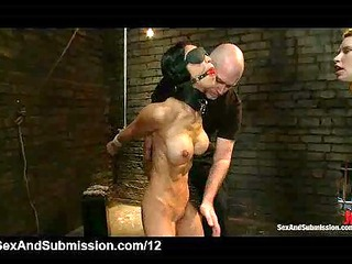 two bound babes caned by master