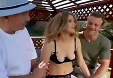 beautiful wife enjoyed an outdoor threesome