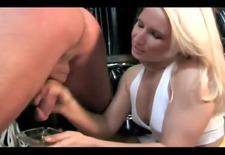 Blonde mistress spanking her man