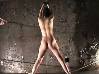 Hooded asian girl in bondage whipped hard