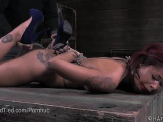 Hot Mixed Race Skin Diamond Bound and Flogged