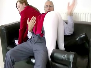 horny busty blonde drools on old dudes cock