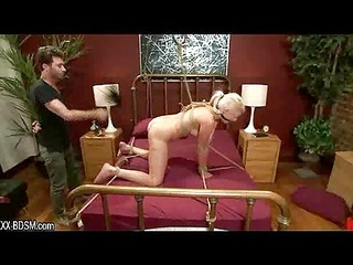 bondage blonde babe gets spanking and sexual