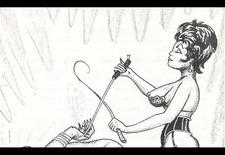 Femdom artwork whipping comic