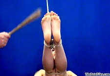 amateur feet whipping and foot fetish of bondage babe in hardcore bdsm